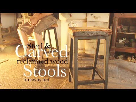 Steel & Carved Reclaimed Wood Stools