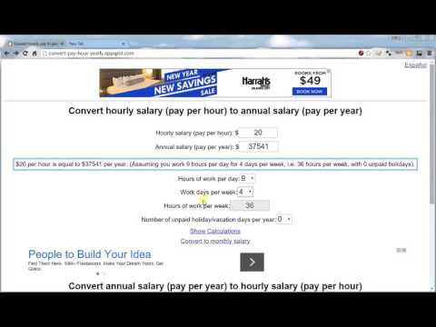 Convert hourly salary to annual salary