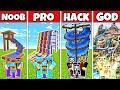 Download Minecraft: FAMILY WATERPARK BUILD CHALLENGE - NOOB vs PRO vs HACKER vs GOD in Minecraft Animations MP3,3GP,MP4