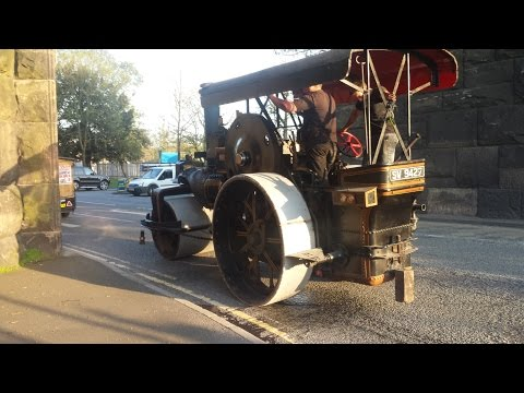 Epic Sound as Steam Roller and Traction Engine Blow Whistles Crossing Manchester Ship Canal Bridge