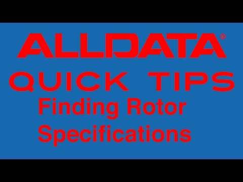 AllData Quick Tip - Finding Rotor Specifications