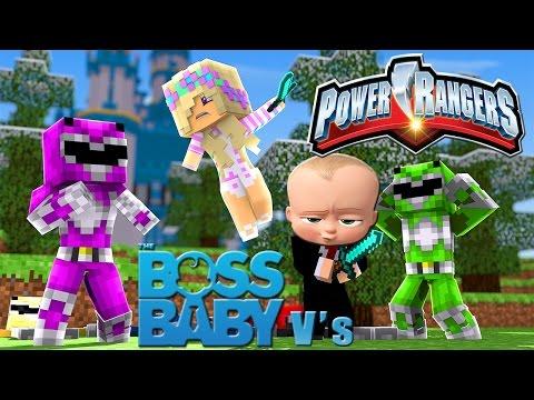 Minecraft CHOP CHOP BOSS BABY VS POWER RANGERS-HIDE AND SEEK!!!- Baby Leah  CUSTOM MODS ADVENTURE