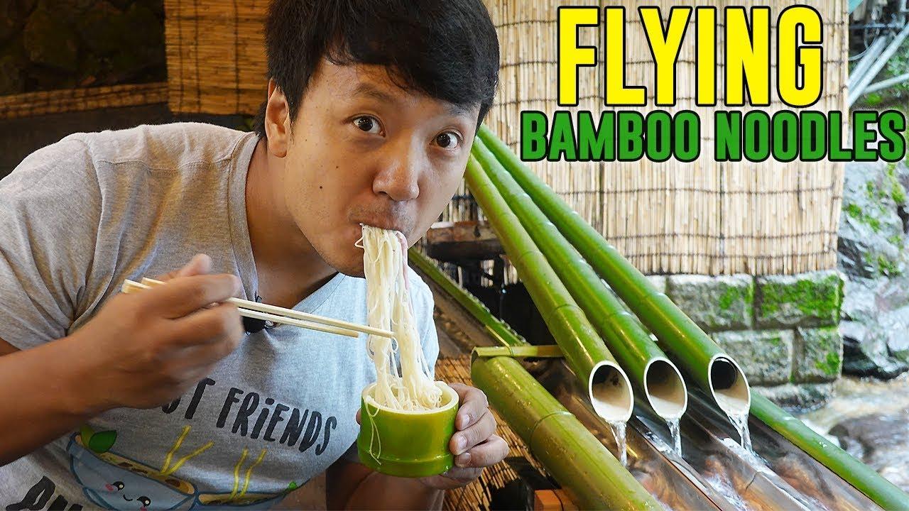 BAMBOO NOODLE SLIDE & SAMURAI Food in Kyoto Japan