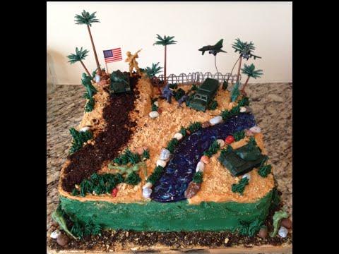 Army Soldier Desert Combat Birthday Buttercream Cake