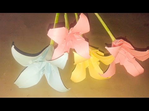 How to make lily flower with crepe paper|Paper flower tutorial|Origami lily video