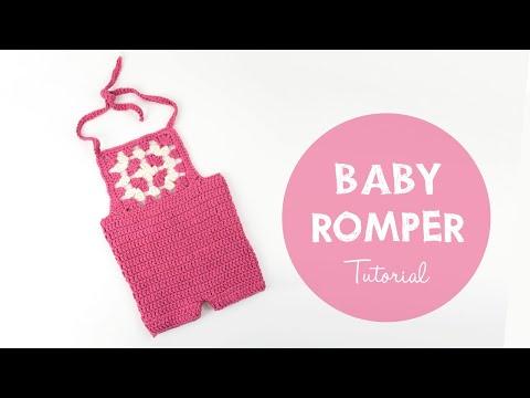 Easy Crochet Baby Romper Tutorial - Crochet Granny Square Onesie | Croby Patterns