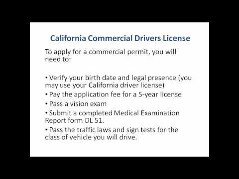 California Commercial Drivers License - CDL in CA