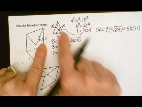 Surface Area and Volume of Triangular Prisms with Isosceles Triangle Bases