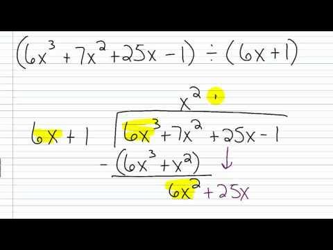 Algebra I Help Polynomial Long Division Part Iv