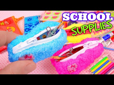10 DIY miniature School Supplies, pencil cases, stickers, and more