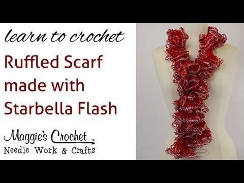 Crochet Super Easy Ruffled Scarf using Starbella Flash Yarn