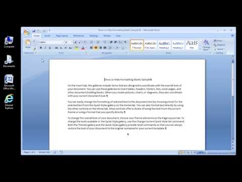 Microsoft Word 2007 Show Or Hide Formatting Marks