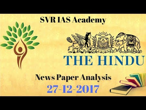 The Hindu Newspaper Analysis - 27-12-2017