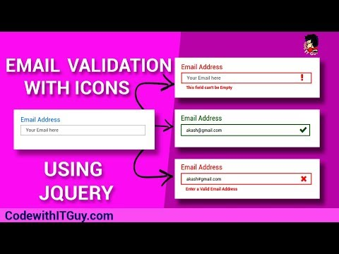 Email Validation : Validate Email with Icons (Tick,Cross,Exclamation) Using jQuery [2018]