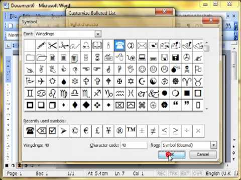 Word 3329 Bullet and number list Microsoft Word 2003 ECDL ITQ2