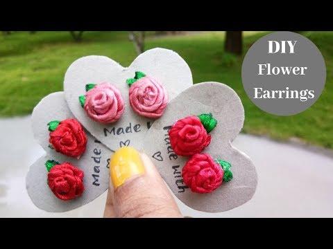 Flower earrings from satin ribbon