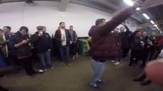 Aston Villa Fans on spurs concourse