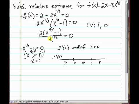 Finding Relative Extrema using First Derivative