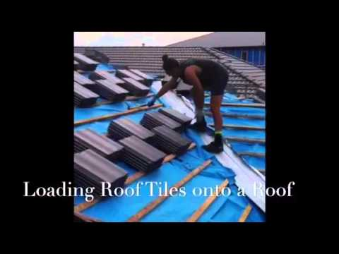 Loading roof tiles onto a roof