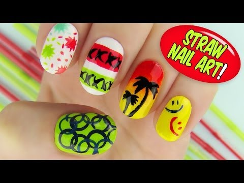 Straw Nail Art! 6 Creative Nail Art Designs Using a Straw