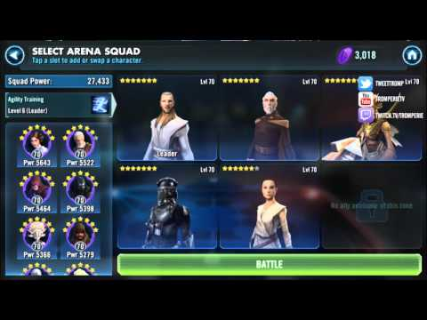 Star Wars: Galaxy Of Heroes - Testing Arena Team Comp @ Rank #1 (2/22/2016)