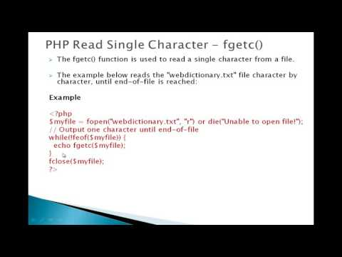 8  PHP Read Single Character   fgetc