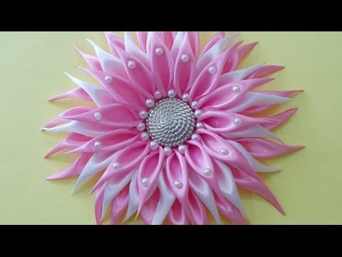 DIY Crafts : How to Make Beautiful Kanzashi Satin Ribbon Flower | DIY Girls Hair Accessories