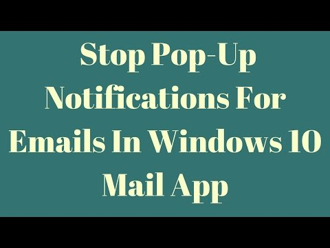 How to stop pop-up notifications for emails in Windows 10 Mail app