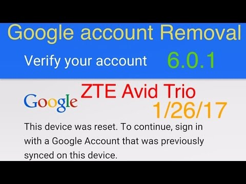 How to remove Google FRP Account on Metro PCS ZTE Avid Trio Z833 6.0.1 and more ZTE models