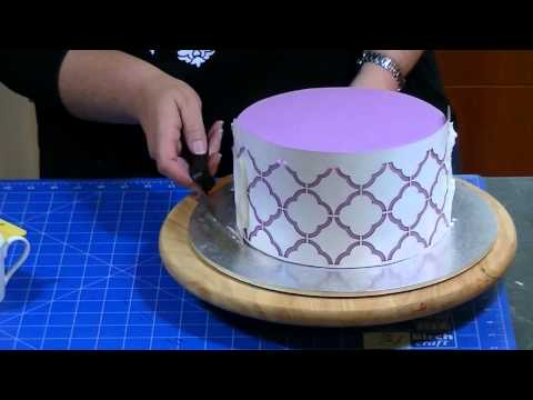 How to Stencil Royal Icing on a Cake