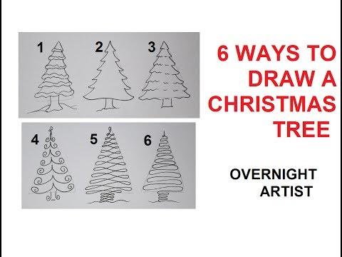 How To Draw Christmas Trees - 6 Easy Ways To Draw Xmas Tree
