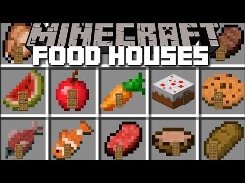 Minecraft FOOD HOUSE MOD / PLACE ANY FOOD AND CREATE HOUSES WITH THEM!! Minecraft