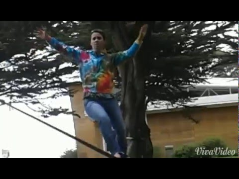 Slackline surfing by the SF Golden Gate Bridge
