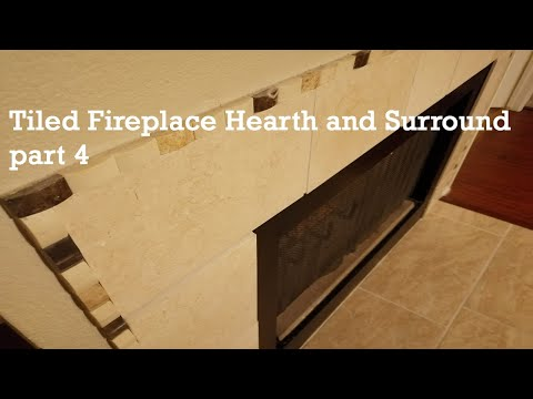 Tiled fireplace hearth and surround - part  4