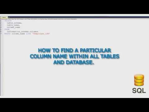 How I find a particular column name within all tables of SQL Database.