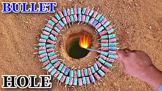 BULLETS IN A HOLE | FIRECRACKERS EXPERIMENTS |