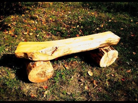 Two willow log benches