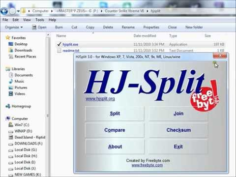 How to use Hjsplit to join files into one .rar file