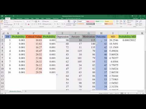 Calculating Mahalanobis Distance Critical Values in Excel