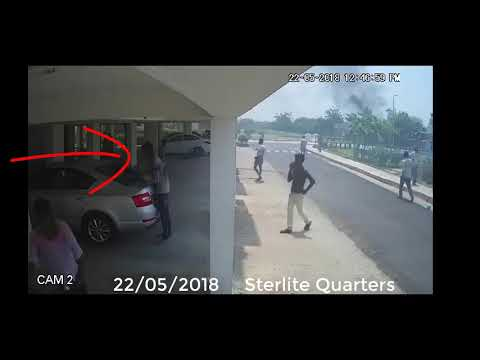 Video CCTV cam feed showing Sterlite quarters being torched by protesters
