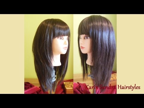 Long Layered Bob haircut with bangs | Long length layers haircut tutorial | Modern Shag haircut