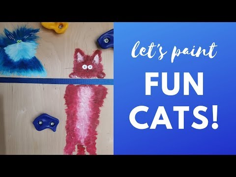 Painting a Cat Mural on a DIY Climbing Wall!