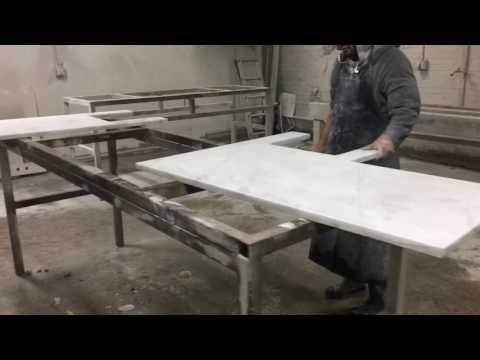 Carrera Marble Countertop Factory Fabrication for An Orange Moon Interior Design Services
