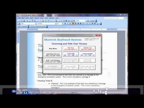 Word 2003 - 2010 Shortcut Keyboard System (Free Version)