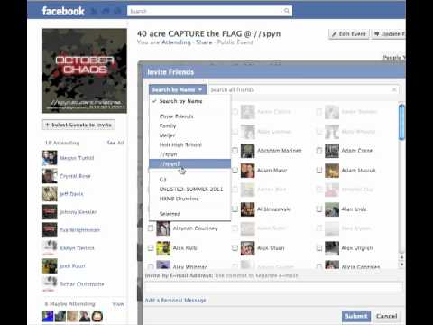 How to create a friends list and invite them to events on fb
