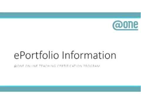 Online Teaching Certification EPORTFOLIO INFO SESSION