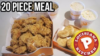 POPEYES FAMILY MEAL CHALLENGE | 20 PIECES OF CHICKEN 4 LARGE SIDES 10 BISCUITS
