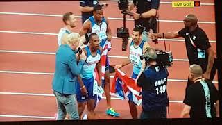 Mens 4 x 100m Relay Final. 2017 London World Championships. Usain Bolt