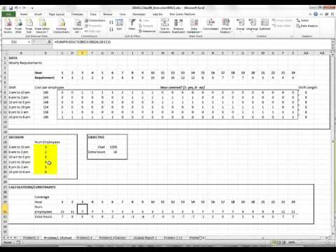 Excel Operations Management Tutorial 2: Scheduling shifts for 24-hour coverage