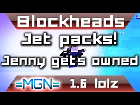 Blockheads 1.6 - Jenny gets OWNED!! - Jet pack race!!